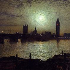 Westminster Bridge by Moonlight, John Atkinson Grimshaw- 1880