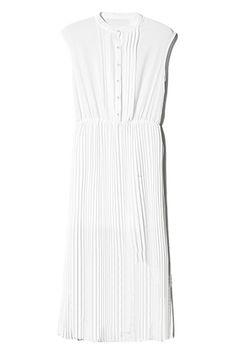 Band Collar White Pleated Dress   $58.99  #romwe #fashion