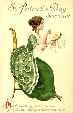 Here are some images just in time for Saint Patrick's Day. A Lovely Victorian Gown and some pretty ladies & gents dressed in St. Patty's Day wear from Vintage Cards. St Patrick's Day, Vintage Postcards, Vintage Images, Fete Saint Patrick, Printable Images, Free Printable, St Patricks Day Cards, Erin Go Bragh, Irish Blessing