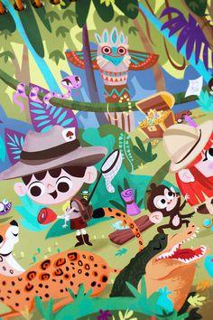 Cherche et Trouve book on Behance Children's Book Illustration, Character Illustration, Digital Illustration, Murals For Kids, Art For Kids, Kids Activity Books, Mood Colors, Amazing Drawings, Cartoon Design