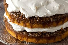 attempting this today!---Gooey Fluffy Pecan Praline Pumpkin Cake with Whipped Cream Cheese Frosting