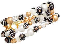 3-Strand Pyrene Shell & Pearl Mix Bracelet by GemVault on Etsy