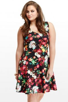 Plus Size Floral Flare Dress | Fashion To Figure #PlusSizeFashion #FashionToFigure #FloralDresses