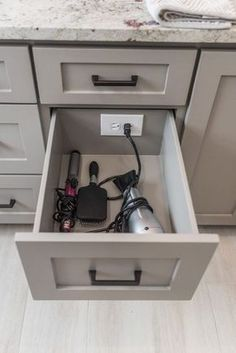 Drawer outlet, outlet in drawer, storage, organize, bathroom, kitchen, charge phones, hidden outlet, hide cords, hide outlets, outlet for kitchen appliances, organize, farmhouse, rustic, modern decor, modern farmhouse, add an outlet #afflink