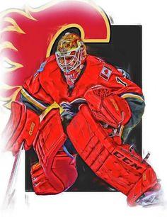 Brian Elliott Print featuring the mixed media Brian Elliott Calgary Flames Oil Art by Joe Hamilton