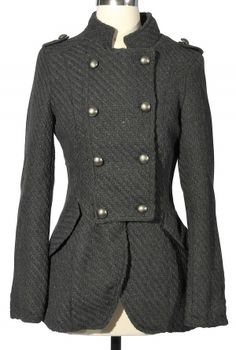 Textured Crossover Button Peacoat in Grey