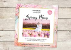 "Spring Mini Session Template - 5x5"" Marketing Board for Photographers - INSTANT DOWNLOAD -A_101"