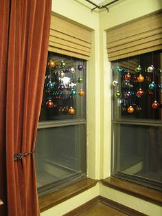 christmas bulbs doll up the front windows.