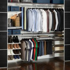 Bedroom Closet ------- Walnut & White elfa décor Reach-In Closet (Will be customized.)