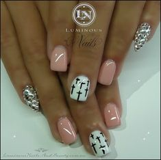 Nude Pink Nails with Crystal & Crosses