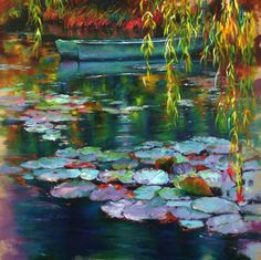 Travels - Donna Young Fine Art and Oil Paintings Water Lilies Painting, Lotus Painting, Lily Painting, Abstract Landscape, Landscape Paintings, Abstract Art, Landscapes, Painting Inspiration, Flower Art