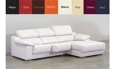 Sofá con chaise longue a la derecha, asientos deslizantes en piel. Varios colores