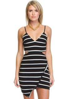 """Maurice Stripe Dress -      Trending angular hemline mini dress!     Features stripe print     Cut out waist detail     Adjustable thin straps     Exposed back zip opening     Available in White/Black and Black/White     Cotton/Polyester     Length of size 8 shoulder to hem: 74cm   Our model is wearing a size 8 and is 172.5cm tall.(5'8"""")"""
