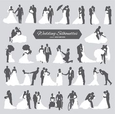 This set of 28 Groom and Bride silhouettes for wedding cards and designs features several poses of the future married. High quality JPG included. Under