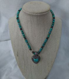 Solid Sterling Silver and Authentic Turquoise Heavy Heart Pendant Necklace   Jewelry & Watches, Vintage & Antique Jewelry, Vintage Ethnic/Regional/Tribal   eBay!