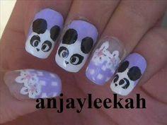 :D For all the Panda Lovers out there. she loves panda and I usually saw h. Panda Nail Art, Nail Art Videos, Art Tutorials, Nails, Finger Nails, Ongles, Nail, Art Lessons, Drawing Tutorials