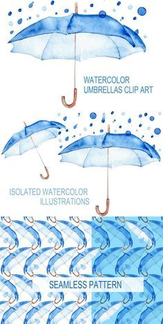 Watercolor blue umbrellas.. Objects. $5.00
