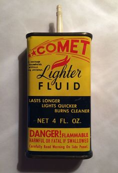 Vintage 4 oz Comet Lighter Fluid Tin Can Oil Oiler Cardinal Products KY USA #CardinalProducts