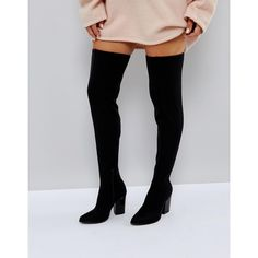 London Rebel Block Point Toe Over Knee Boot ($76) ❤ liked on Polyvore featuring shoes, boots, black, black stretch boots, stretch thigh high boots, black thigh-high boots, thigh high boots and black block heel boots