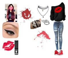"""""""Untitled #67"""" by rainbowhomicide ❤ liked on Polyvore featuring Converse, AS29, LORAC, Manic Panic and Wet Seal"""