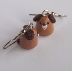 Brown Puppy Dog Handmade Polymer Clay by PitterPatterPolymer, $11.00