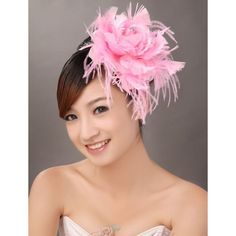 Pink Feather Rosette Bridal Wedding Prom Headpieces Accessories Store  SKU-10806247