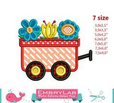 Applique Design Mini Spring Flowers Wagon 16146 by EmbryLab