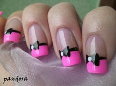Nude Nails with Hot Pink French Tip and Bow. Cute!
