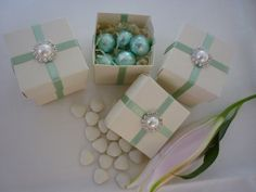Mint Sage Green and Ivory or White Pearl and Diamanté Embellished Favour Box £2.00