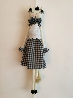Textile Doll Cloth Doll Collectibles Fabric by FlowersAndCocoons