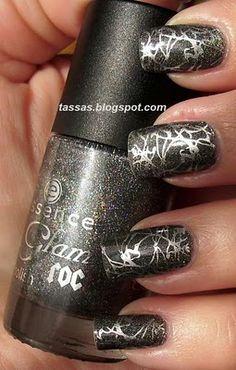 Graphite Nails &  Silver Konad