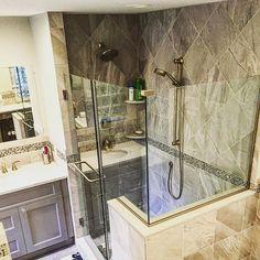 Custom master bathroom  modern clean look. Mosaic accents and porcelain tile. #lovemyjob #bathroom #bathroomideas #Bathroomdesign #bath #shower #custom #modern #modernbath #moderndesign #inspire #interiors #interior #interiordesign #home #instapic #instagood #instalike #instadaily #follow #followme #masterbathroom #vanity #hgtv #design #designlife #designer #contemporary #grind  #workflow by masterkitchenandbathdesign Bathroom designs.