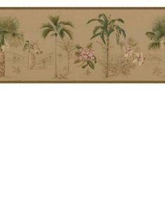 Sand Dollar Sea Glass Shells and Flowers Wallpaper Border