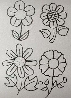 Flower Drawing Easy – World of Flowers Simple Flower Drawing, Easy Flower Drawings, Sunflower Drawing, Easy Drawings For Kids, Art Drawings Sketches Simple, Pencil Art Drawings, Doodle Drawings, Doodle Art, Cute Drawings