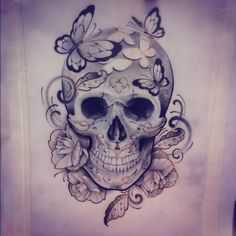Картинки по запросу beautiful skull tattoos for women