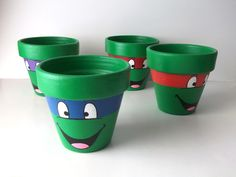 TMNT Ninja Turtles Painted Flower Pot