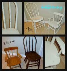 Vintage chair and childs rocker. Painted antique white and lightly distressed.