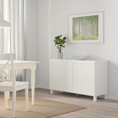 BESTÅ Storage combination with doors, white, Hanviken/Stubbarp white, 47 - IKEA Pictures Of Christmas Decorations, Soft Closing Hinges, Frame Shelf, Plastic Foil, Knobs And Handles, Interior Accessories, Adjustable Shelving, Table Arrangements, Diner Decor