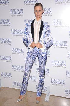Karolina Kurkova picks a punchy Roberto Cavalli suit for Bergdorf Goodman's 111th anniversary celebration on October 18, 2012 in New York City.