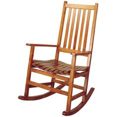 This simple wood rocker will look great in your casual or traditional style home. The lovely porch style rocking chair has a simple look, with a straight vertical slat back and contoured slat seat for comfort. In a light Oak finish, this rocking chair will complement your decor. Straight wooden arms frame the piece, with square legs and a wood rocker base below. Add this casual rocker to your home for a classic look and soothing relaxation.