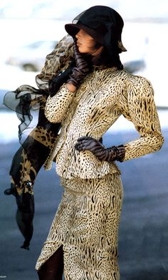 Oh my, this old pic is Aunt Jane in Jean Muir Leopard in 1986.....can't wear that anymore......................