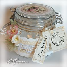 decorated jar this would be beautiful with the brown sugar scrub in it! Beautiful ;)