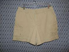 St. John's Bay Women's Biege Canvas Khakis Chino Flap PKT Cargo Shorts~Size 12 #StJohnsBay #Cargo