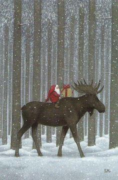 Christmas Moose by Swedish illustrator, Eva Melhuish Merry Christmas, Christmas Moose, Swedish Christmas, Vintage Christmas Cards, Scandinavian Christmas, Christmas Pictures, Winter Christmas, Christmas Holidays, Christmas Decorations