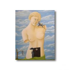 """Tableau """"Quand Magritte rencontre Dali""""  Huile sur toile - 300 € Magritte, Dali, Etsy, Vintage, Oil On Canvas, Canvases, Dating, Handmade Gifts, Board"""