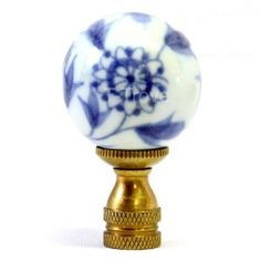 $8 Blue and White Porcelain Sphere Lamp Finial