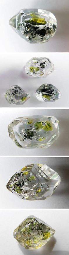 Quartz with a 2-phase inclusion of gas and petroleum. You can see the movement of the bubble when you move it.