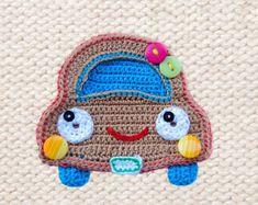 Crochet Pattern  Car Applique  Instant Download boys