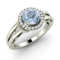 Round Aquamarine Ring in 14k White Gold with SI Diamond