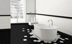 """Résultat de recherche d'images pour """"salle de bain carreaux hexagonaux"""""""
